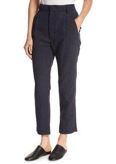 Vince Slouchy Linen-Blend Cropped Trousers