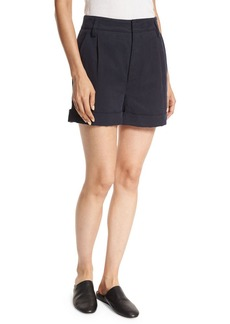 Vince Slouchy Rolled-Cuff Linen-Blend Shorts