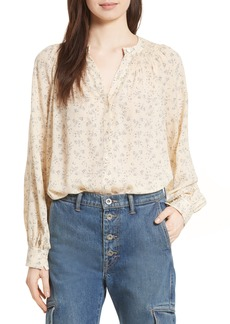 Vince Smocked Floral Silk Blouse