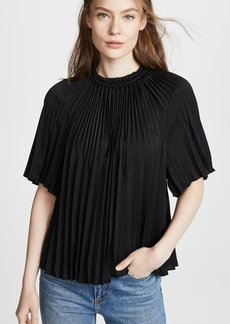 Vince Smocked Short Sleeve Blouse