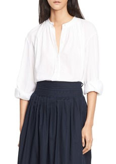Vince Soft Pleated Cotton Blouse  White
