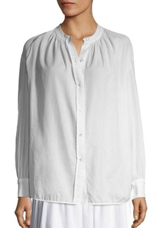 Vince Pleated Button-Down Blouse