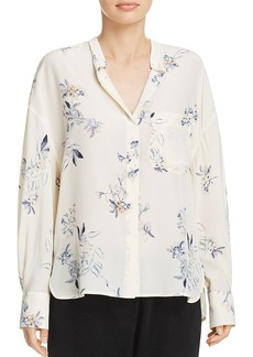 Vince Spaced Floral Print Silk Blouse