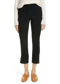 Vince Split Hem Stretch Suede Crop Pants
