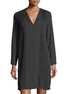 Vince Split-Neck Pintuck Silk Dress