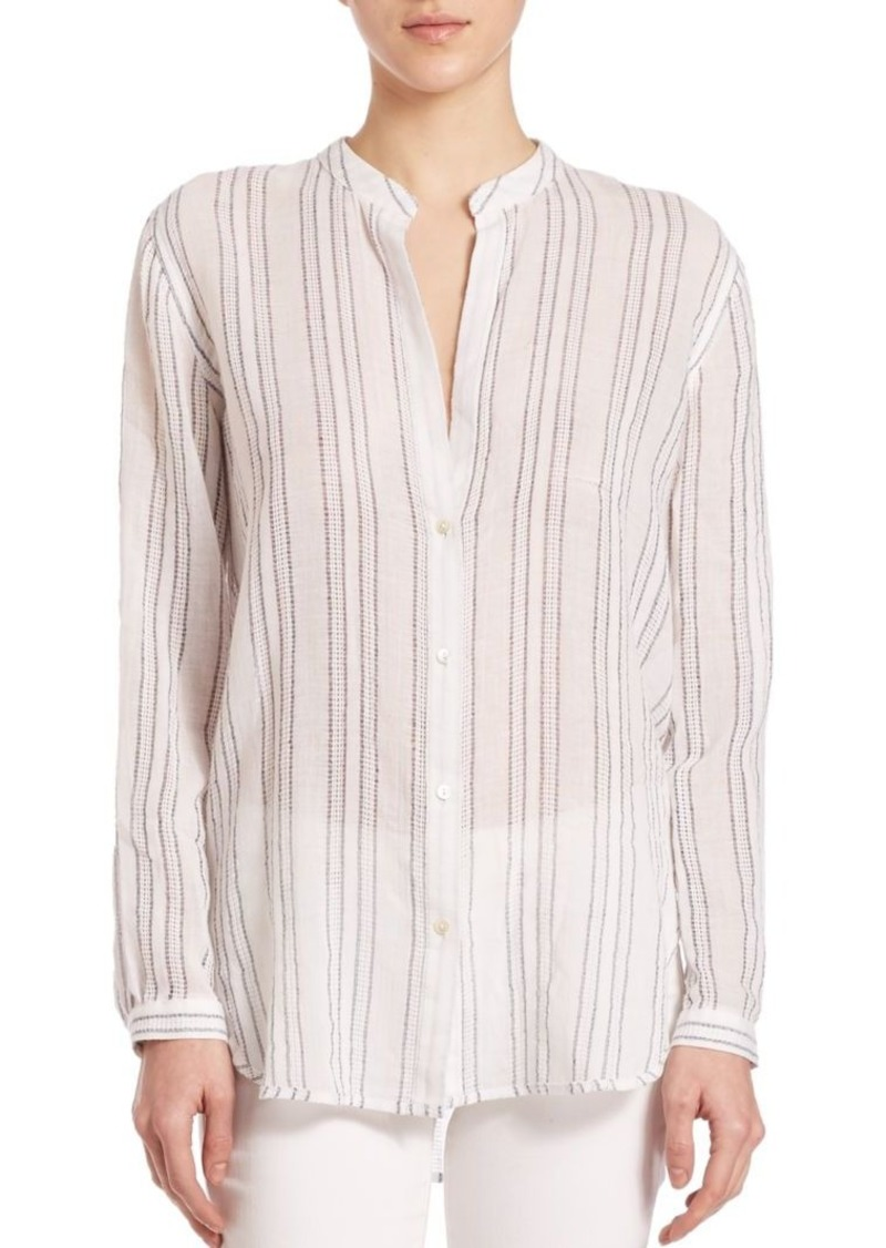 Vince Split Striped Button Shirt
