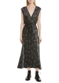 Vince Spring Floral Faux Wrap Silk Dress