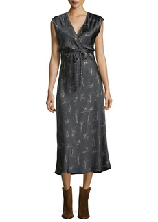 Vince Spring Floral-Print Crossover Satin Slip Dress