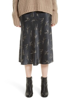 Vince Spring Floral Pull-On Silk Midi Skirt