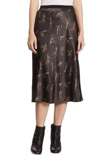 Vince Spring Floral Slip Silk Skirt