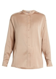 Vince Stand-collar silk-blend satin blouse