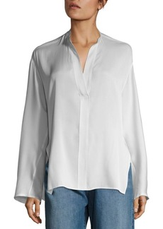 Vince Stand Collar Silk Blouse