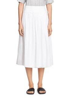 Vince Stitch-Pleated Wrap Midi Skirt
