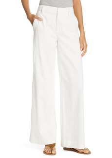 Vince Stretch Cotton & Linen Wide Leg Trousers