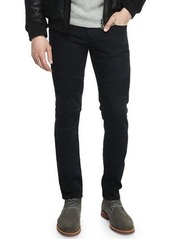Vince Stretch Resin-Coated Moto Jeans