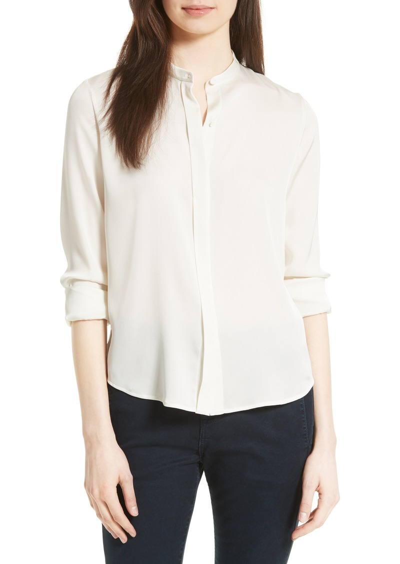 58e9f70f84234 Vince Vince Stretch Silk Band Collar Blouse