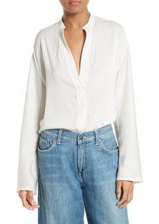 Vince Stretch Silk Split Neck Blouse