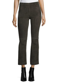 Vince Stretch-Suede Flared Crop Pants