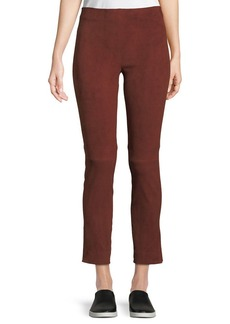 Vince Stretch-Suede Split Hem Crop Pants
