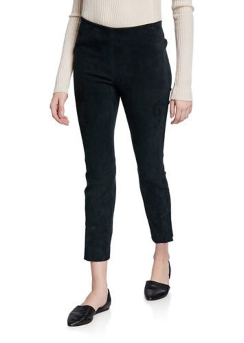 Vince Stretch Suede Split-Hem Cropped Pants
