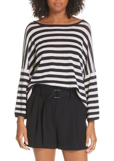 Vince Stripe Boxy Wool & Cashmere Sweater