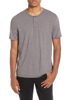Vince Stripe Cotton Blend Henley T-Shirt