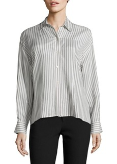 Vince Stripe Cropped Silk Shirt