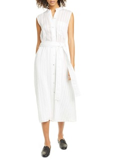 Vince Stripe Drapey Sleeveless Shirtdress