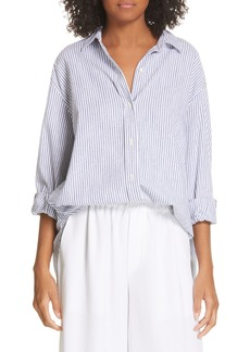 Vince Stripe Oversize Cotton Blend Blouse