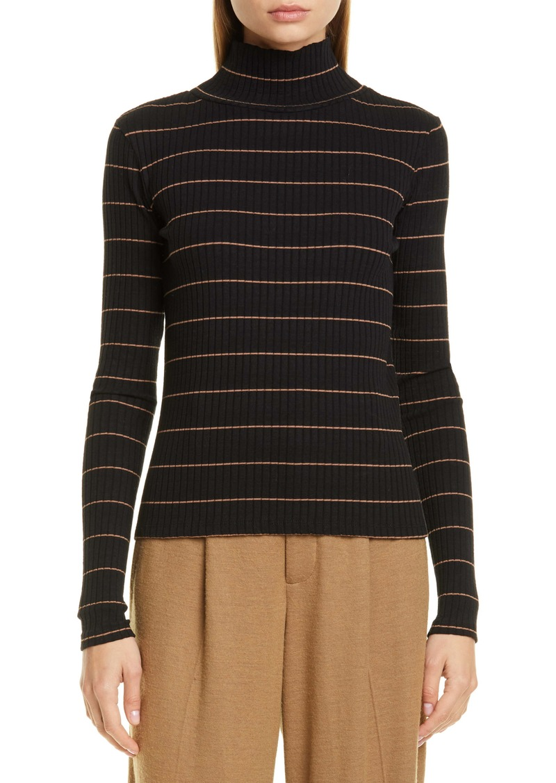 Vince Stripe Rib Stretch Cotton Turtleneck Sweater