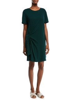 Vince Stripe Short-Sleeve Side-Tie  Dress