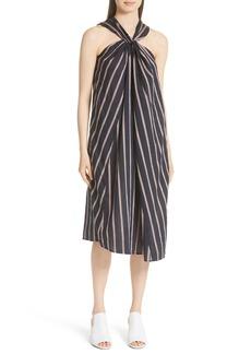 Vince Stripe Twist Front Halter Dress