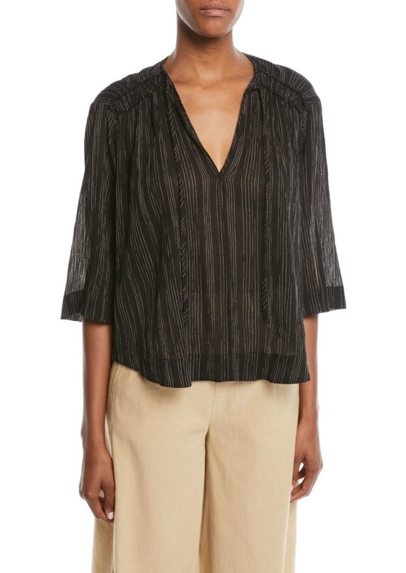 Vince Striped 3/4-Sleeve V-Neck Top