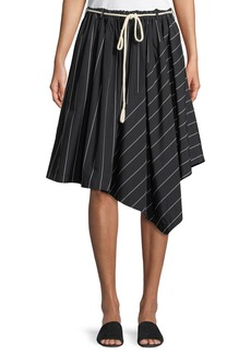 Vince Striped Asymmetric Rope-Tie Skirt