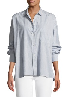 Vince Striped Boxy Button-Down Top