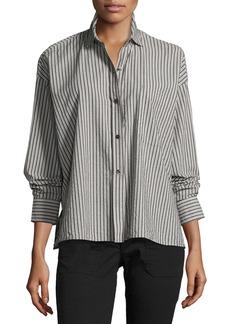 Vince Striped Boxy Button-Front Cotton Shirt