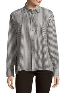 Vince Striped Boxy Cotton Button-Down Shirt