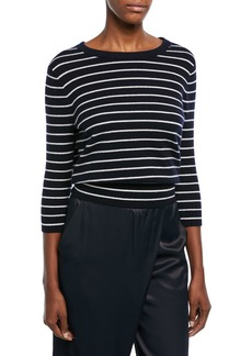 Vince Striped Cashmere Self-Tie Back Shirt