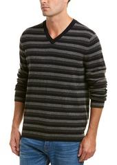 Vince Striped Cashmere V-Neck Sweater