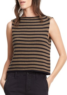 Vince Striped Cotton Cropped Shell Tank