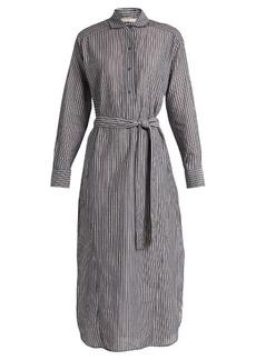 Vince Striped cotton-voile midi dress