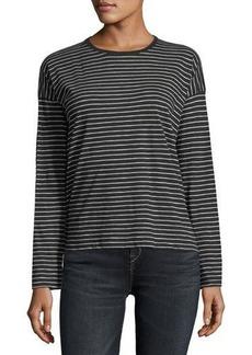 Vince Striped Crewneck Long-Sleeve Pima Cotton Top