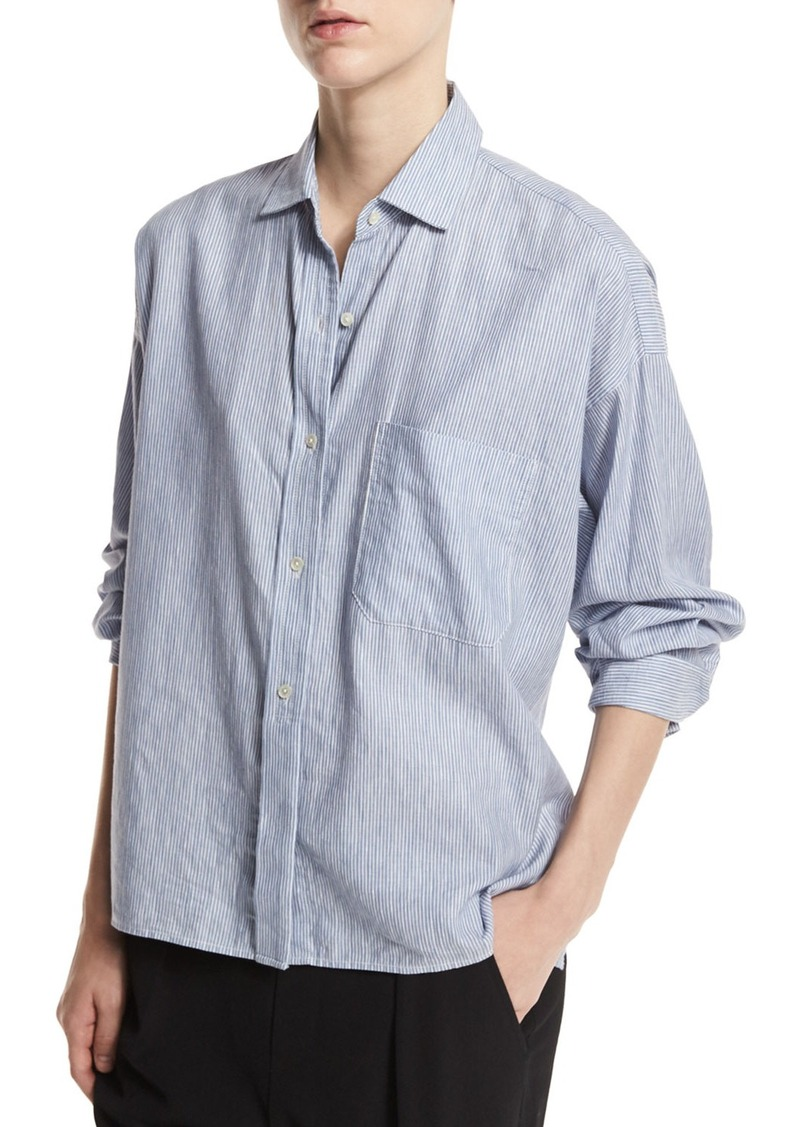 003e12ea8441a Vince Vince Striped Cropped Oxford Shirt