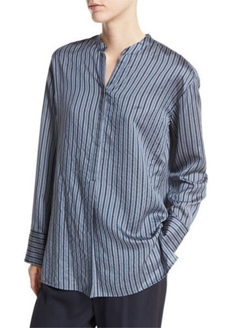 210333097715e Vince Vince Striped Half-Placket Silk Tunic