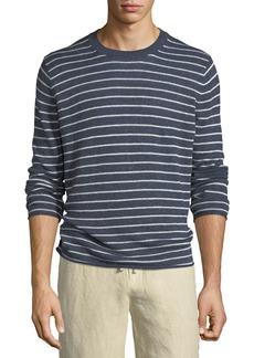 Vince Striped Linen Crewneck Sweater