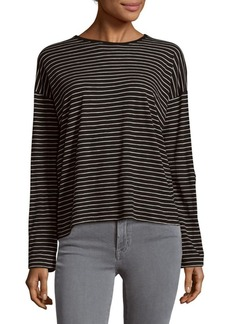 Vince Striped Long Sleeve Cotton Tee