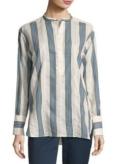 Vince Striped Long-Sleeve Henley Top