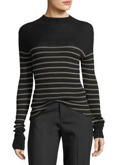 Vince Striped Mock-Neck Cashmere Sweater
