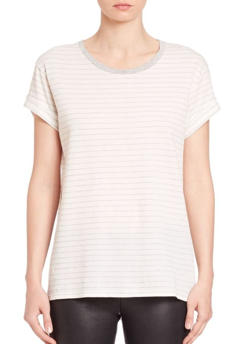 Vince Striped Rolled-Sleeve Tee