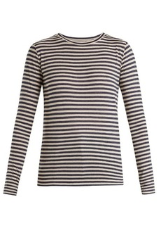 Vince Striped silk-blend long-sleeved T-shirt